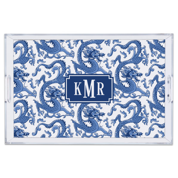 Monogram Lucite Tray Imperial Blue