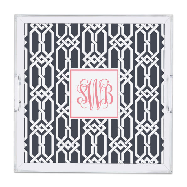 Monogram Lucite Tray Arden Charcoal