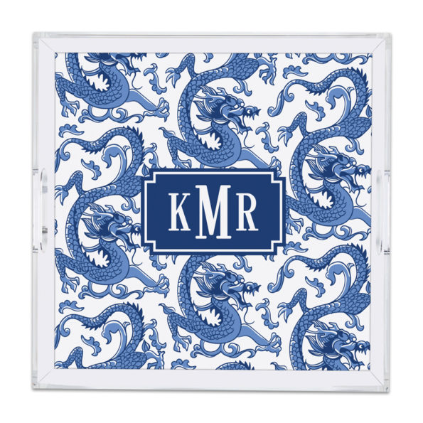 Monogram Lucite Tray Imperial Blue by Boatman Geller