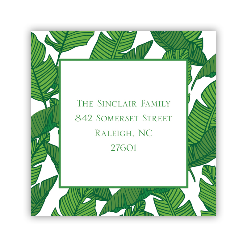 Personalized Square Sticker Banana Leaf By Boatman Geller