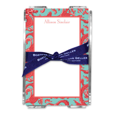 Personalized Note Sheets in Acrylic Imperial Coral