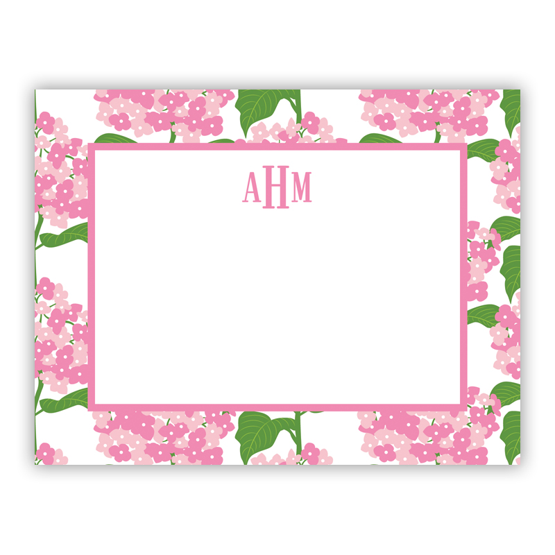 personalized flat note cards sconset pink