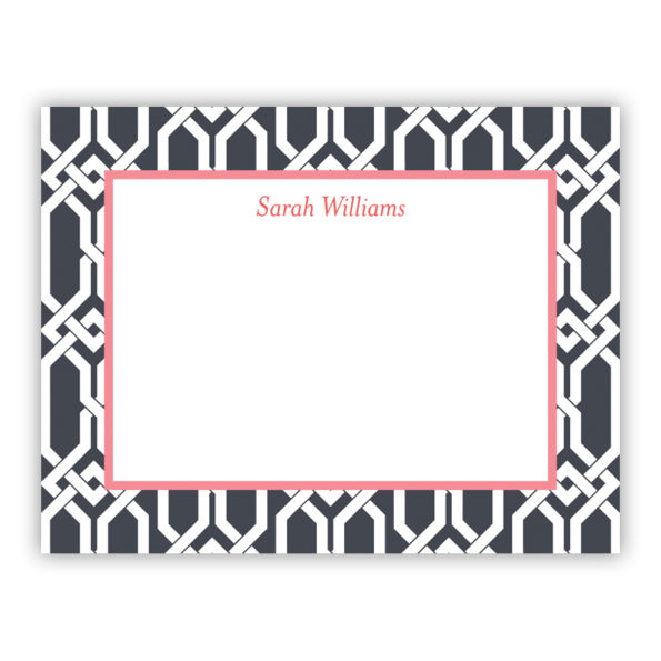Personalized Flat Note Cards Arden Charcoal