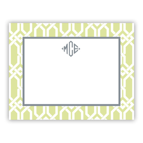 Personalized Flat Note Cards Arden Spring Green