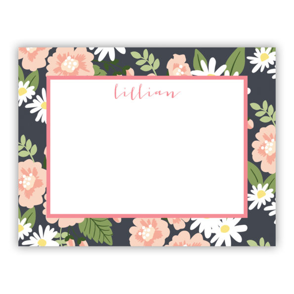 Personalized Flat Note Cards Lillian Floral