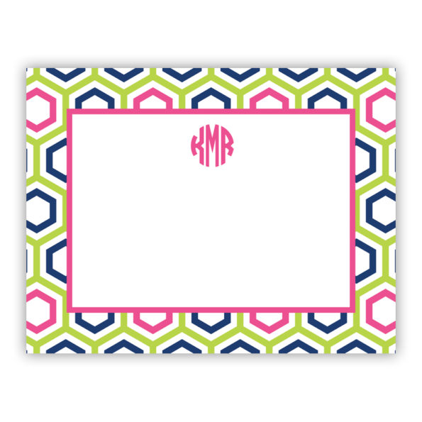 Personalized Flat Note Cards Maggie Lime & Navy