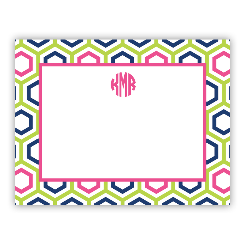 Personalized Flat Note Cards Maggie Lime Amp Navy Boatman