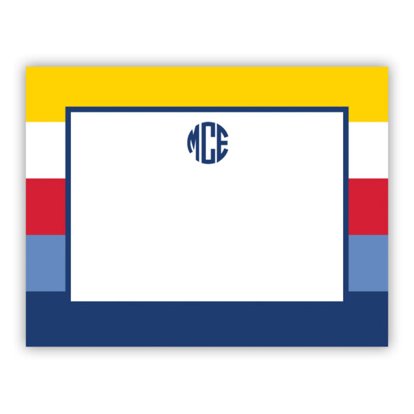 Personalized Flat Note Cards Bold Stripe Nautical