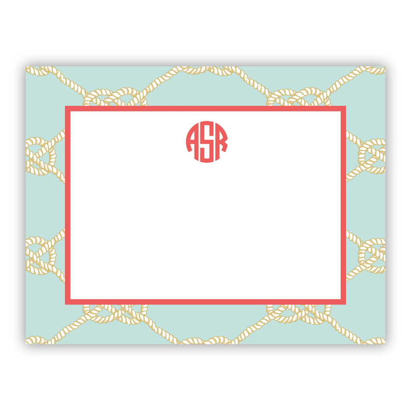 Personalized Flat Note Cards Nautical Knot Sea Boatman