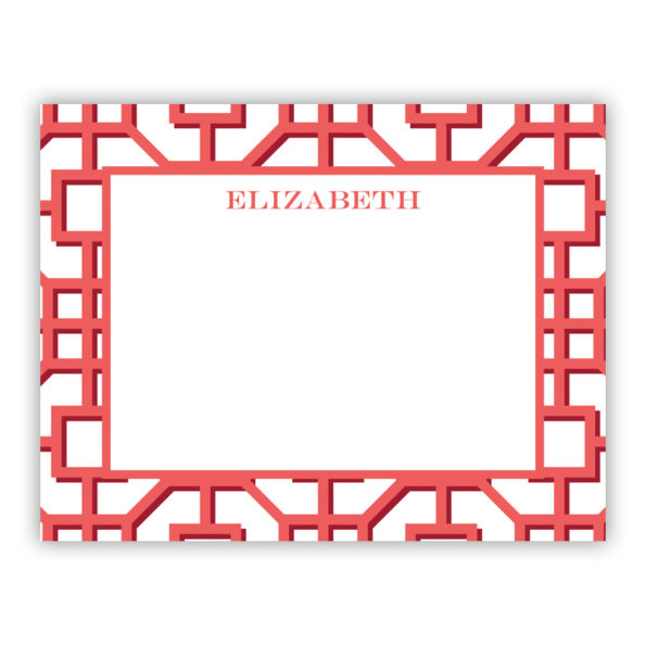 Personalized Flat Note Cards Fret Coral