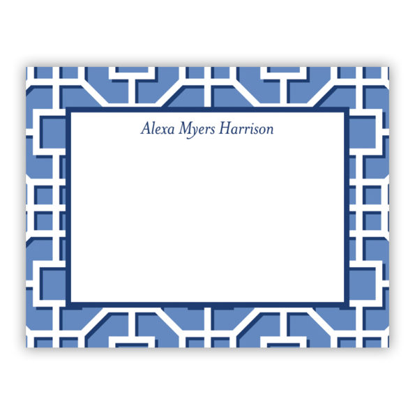 Personalized Flat Note Cards Fret Navy