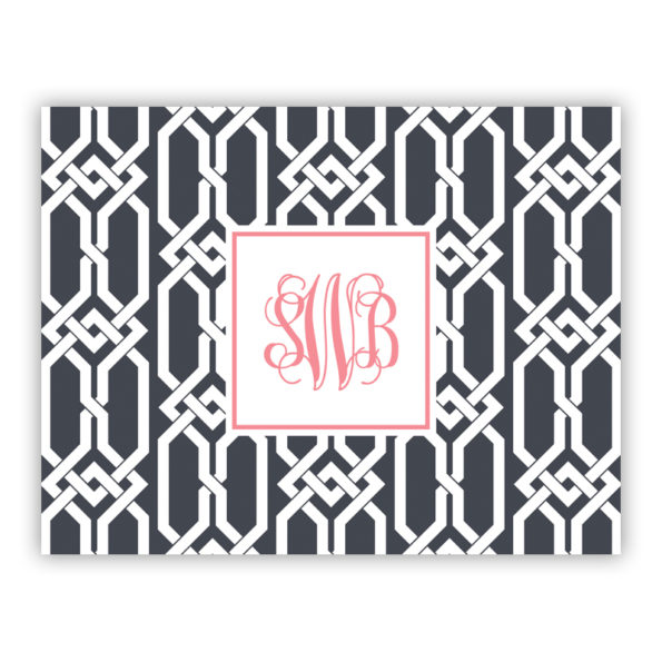 Personalized Folded Note Cards Arden Charcoal