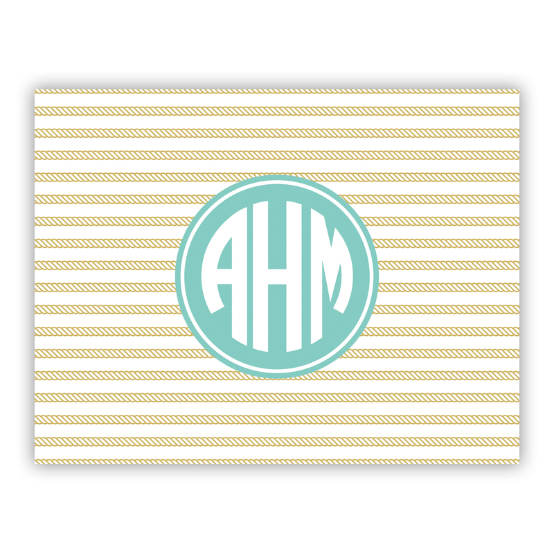 personalized folded note cards rope stripe gold