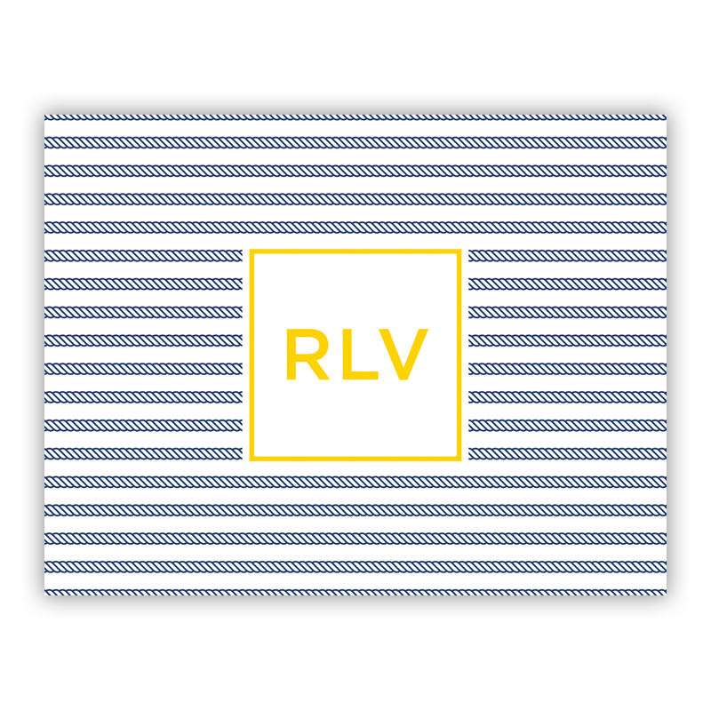 Personalized Folded Note Cards Rope Stripe Navy Boatman