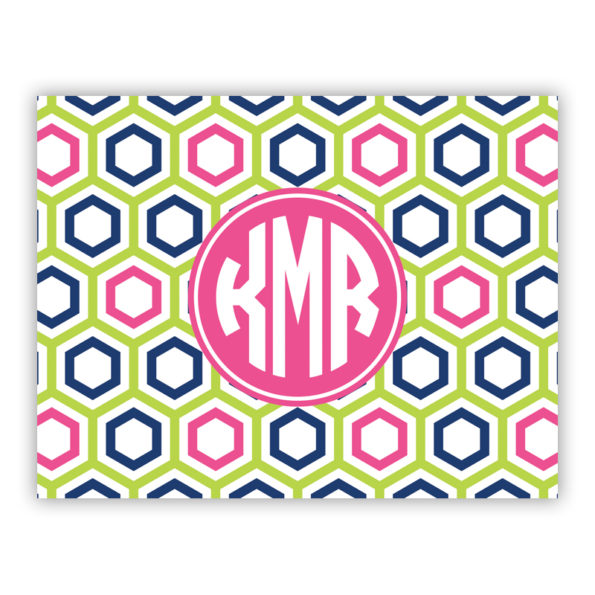 Personalized Folded Note Cards Maggie Lime & Navy
