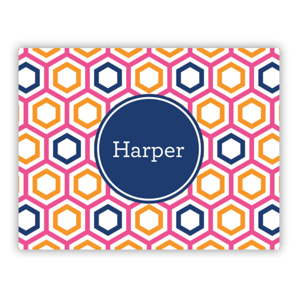 Personalized Folded Note Cards Maggie Raspberry & Tangerine