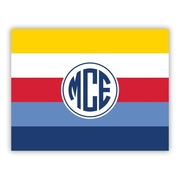 Personalized Folded Note Cards Bold Stripe Nautical