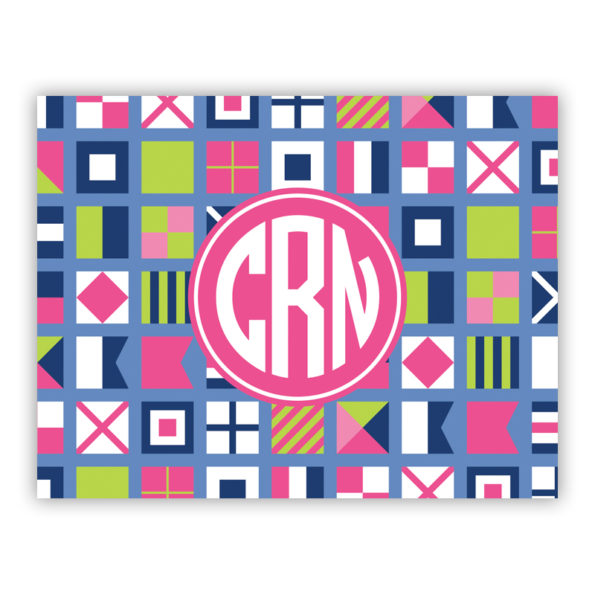 Personalized Folded Note Cards Nautical Flags Pinks