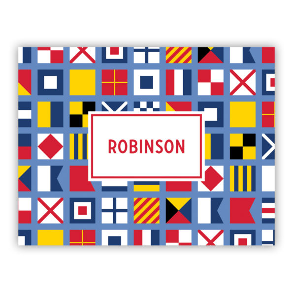Personalized Folded Note Cards Nautical Flags