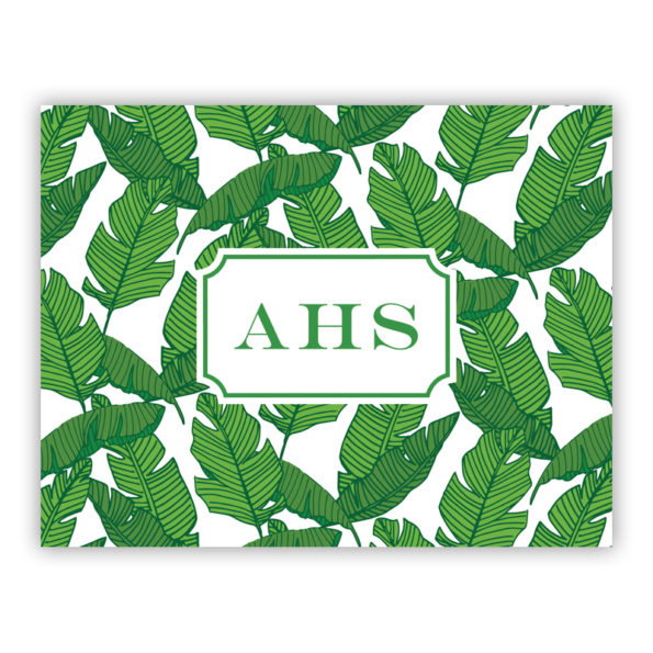 Personalized Folded Note Cards Banana Leaf