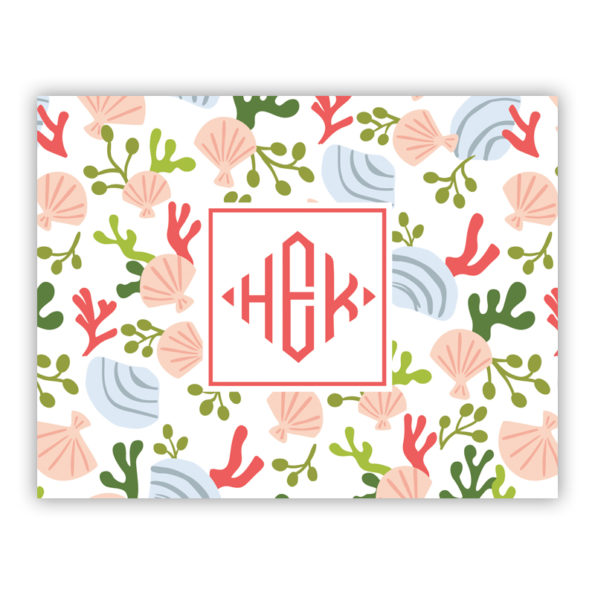 Personalized Folded Note Cards Beachcomber