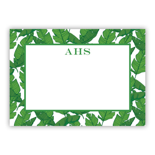 Personalized Flat Note Cards Banana Leaf