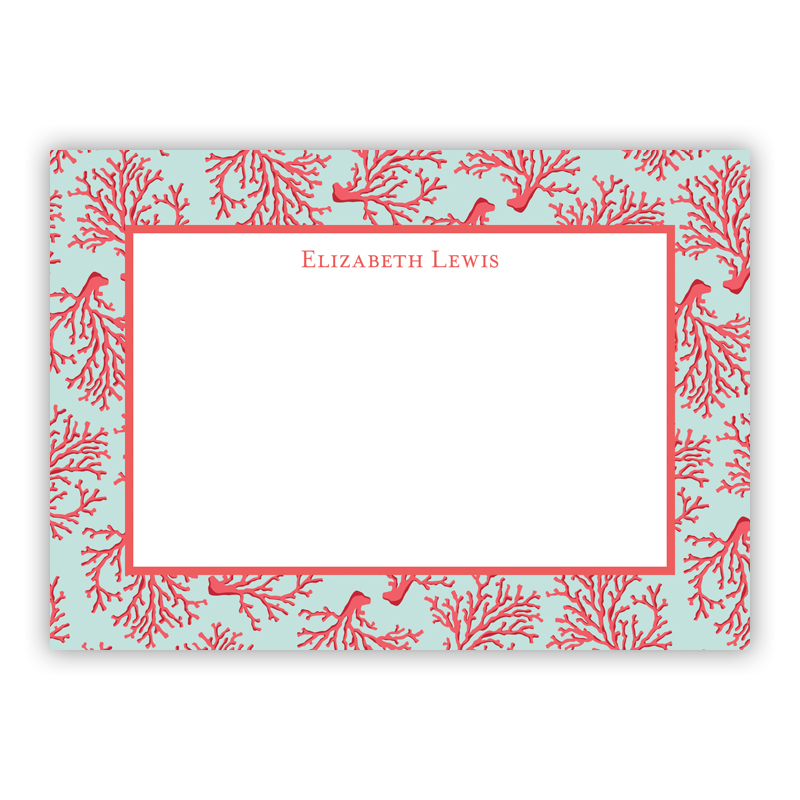 Personalized Flat Note Cards Reef Boatman Geller