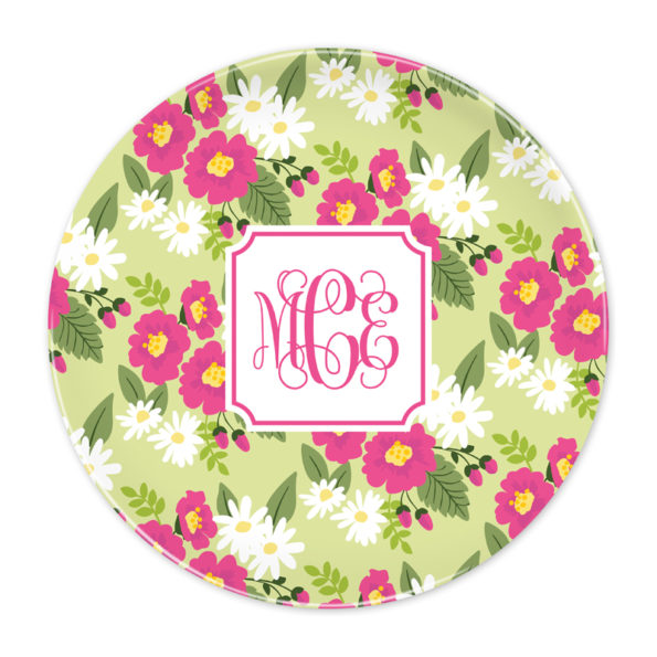 Monogram Plate - Lillian Floral Bright by Boatman Geller