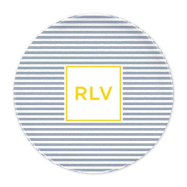 Monogram Plate - Rope Stripe Navy by Boatman Geller