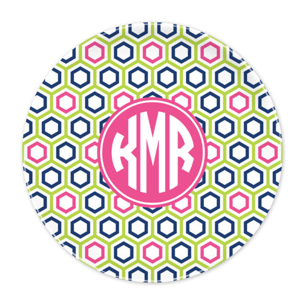 Monogram Plate - Maggie Lime & Navy by Boatman Geller