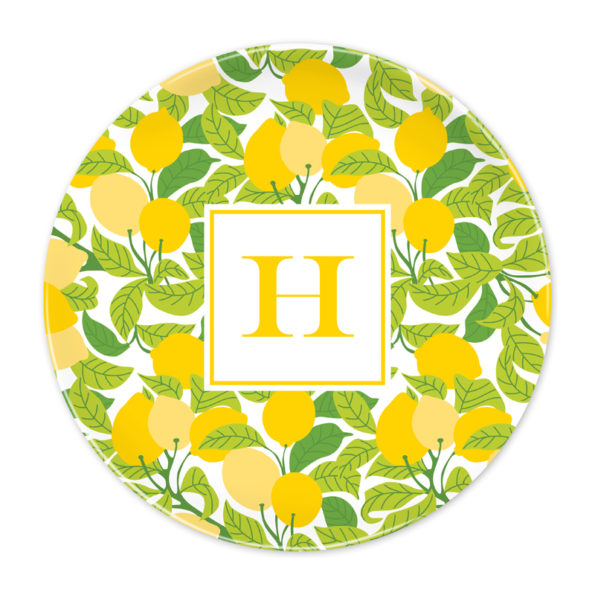 Monogram Plate - Lemons by Boatman Geller