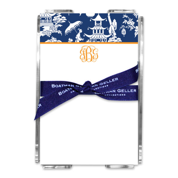 Personalized Note Sheets in Acrylic Pagoda Garden Navy