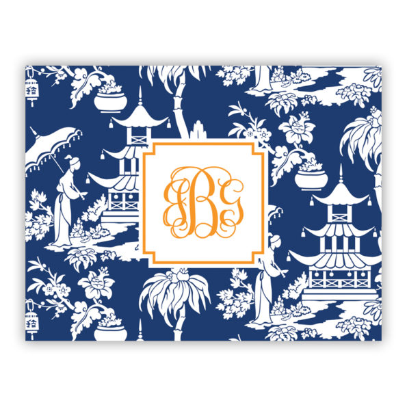 Personalized Folded Note Cards Pagoda Garden Navy