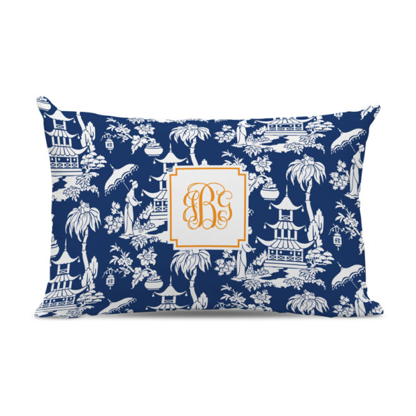 Monogram Pillow Pagoda Garden Navy - Lumbar