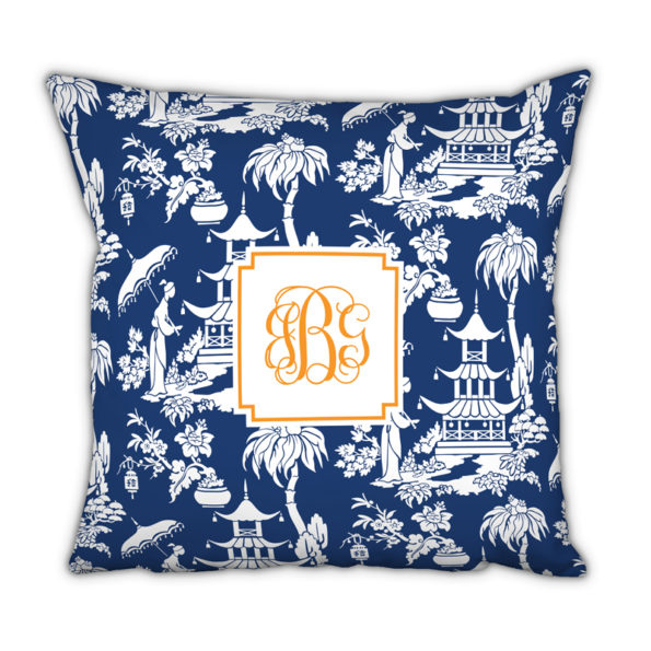 Monogram Pillow Pagoda Garden Navy - Square