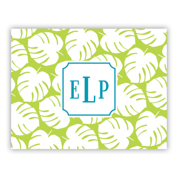 Personalized Folded Note Cards Palm Lime