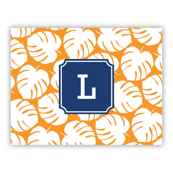 Personalized Folded Note Cards Palm Tangerine