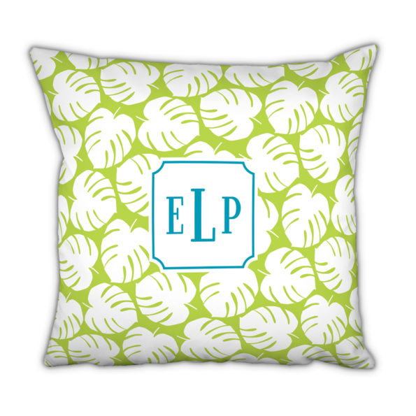 Monogram Pillow Palm Lime - Square