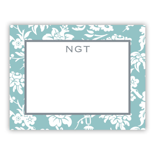 Personalized Flat Note Cards Anna Floral Slate