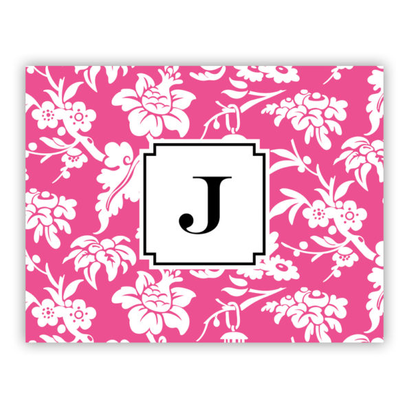 Personalized Folded Note Cards Anna Floral Raspberry