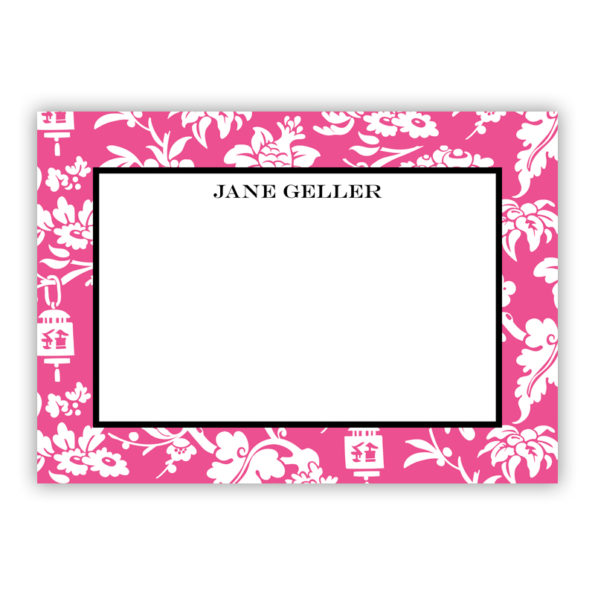 Personalized Flat Note Cards Anna Floral Raspberry