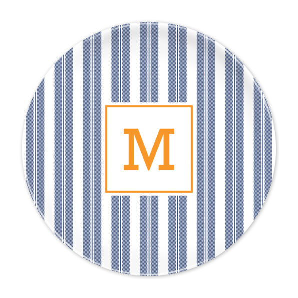 Monogram Plate - Vineyard Stripe Navy by Boatman Geller