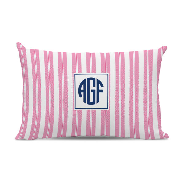 Monogram Pillow Vineyard Stripe Raspberry - Lumbar