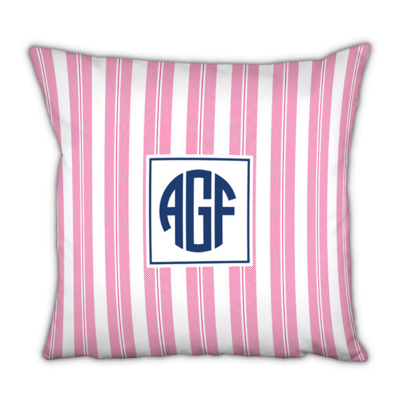 Monogram Pillow Vineyard Stripe Raspberry - Square