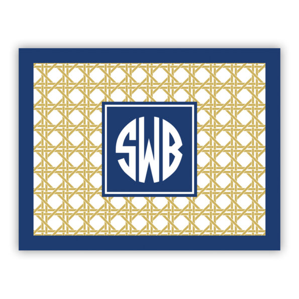 Personalized Folded Note Cards Parker Border Navy