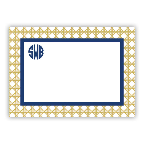 Personalized Flat Note Cards Parker Border Navy