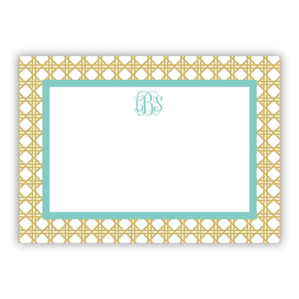 Personalized Flat Note Cards Parker Border Aqua