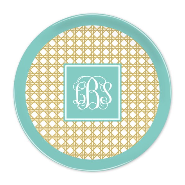 Monogram Plate - Parker Border Aqua by Boatman Geller