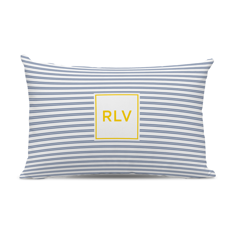 Monogram Pillow Rope Stripe Navy Boatman Geller Classic Prep Monograms