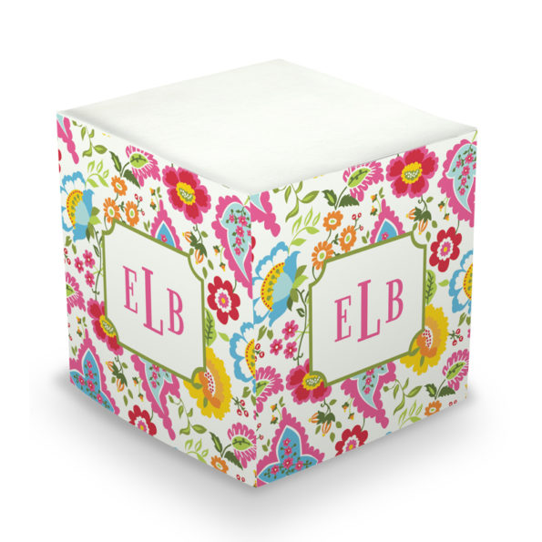 Monogram Sticky Memo Cube - Bright Floral